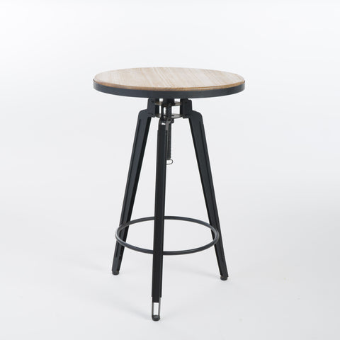 Velthur Contemporary Antique Color Firwood Swivel Bar Table