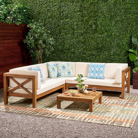 Brava Outdoor 4 Piece V-Shaped Acacia Wood Sectional Sofa and Coffee Table Set