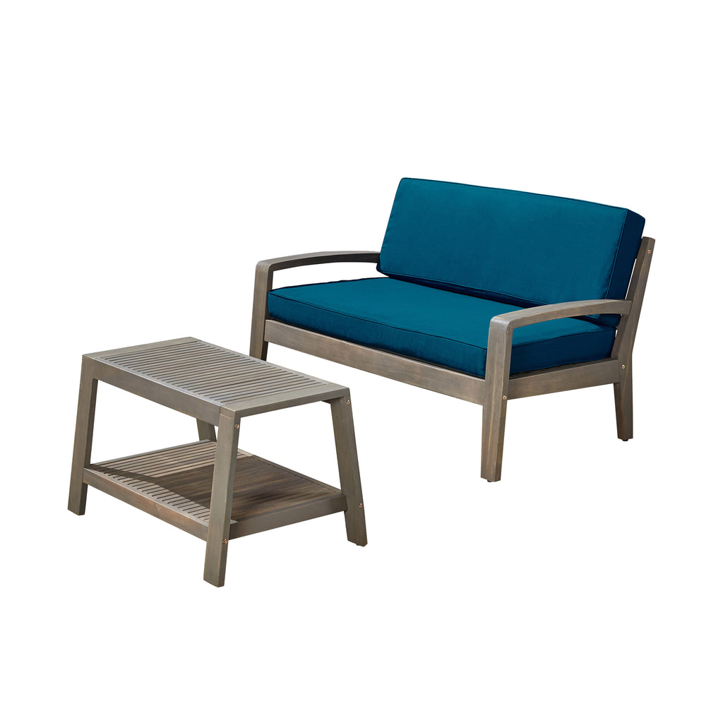 Parma Outdoor Acacia Wood Loveseat and Coffee Table Set with Cushions