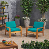 Parma Outdoor Acacia Wood Club Chairs with Sunbrella Cushions