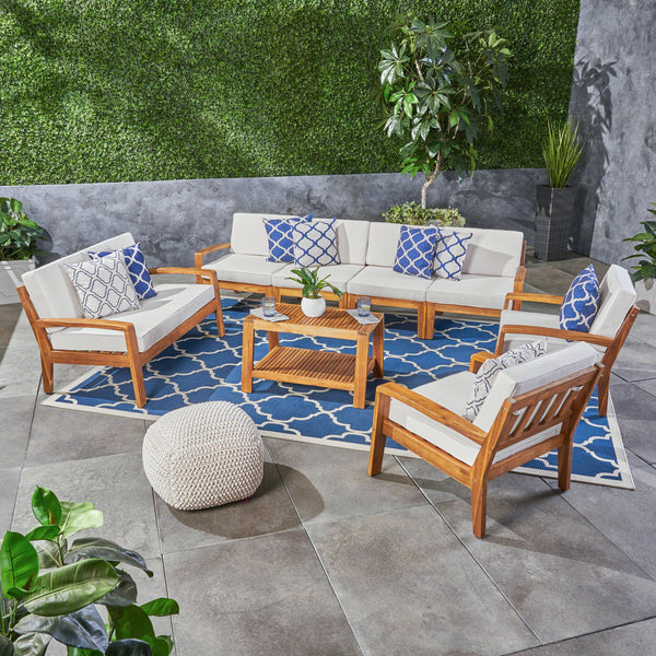 Amaryllis Outdoor Acacia Wood 8 Seater Sectional Chat Set with Coffee Table