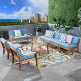 Amaryllis Sectional Sofa Set for Patio  Acacia Wood with Cushions  4-Piece Sectional with Coffee Table, Loveseat, and Club Chairs