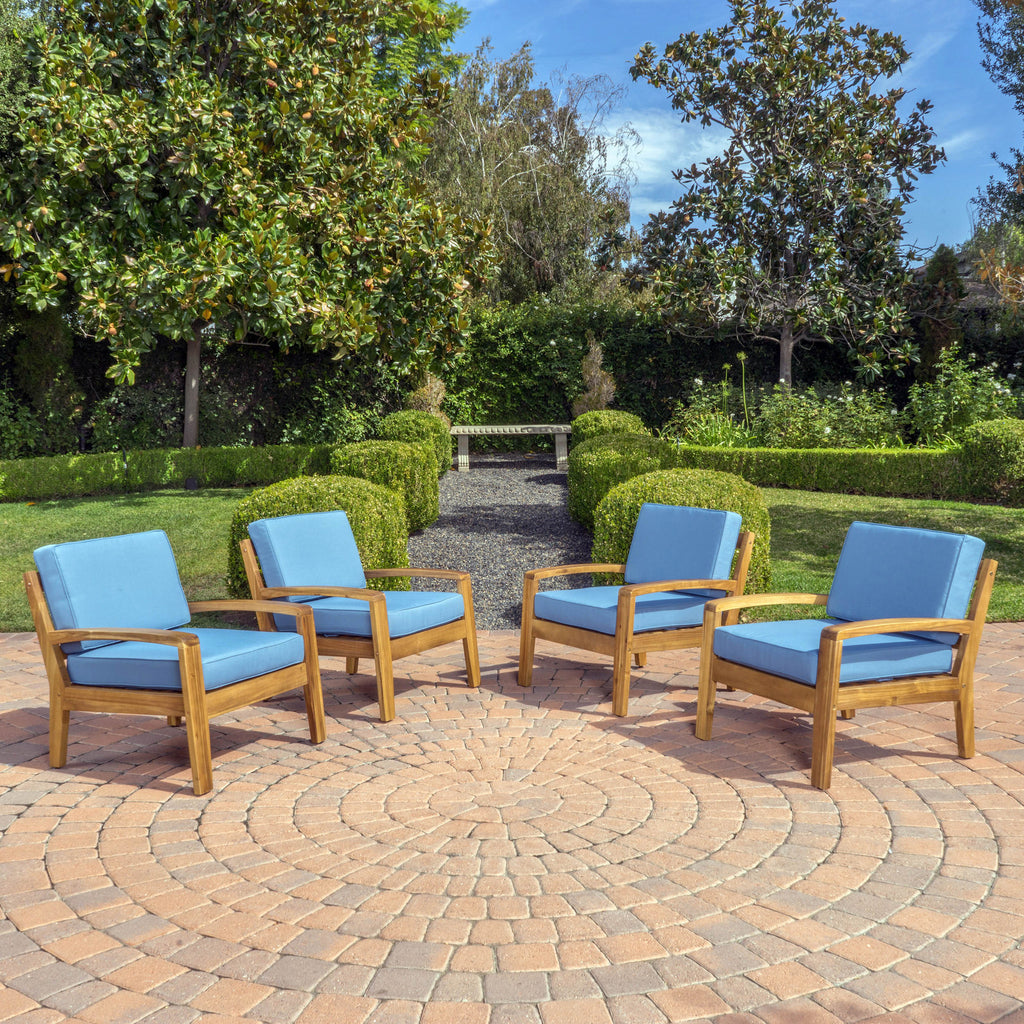 Parma Outdoor Wood Patio Furniture Club Chairs W Water Resistant Cushions Set Of 2
