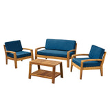 Parma Patio Acacia Wood 4-Seater Conversation Set with Coffee Table and Cushions