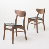 Mid-Century Dark Brown Faux Leather Dining Chairs with Walnut Finish (Set of 2)