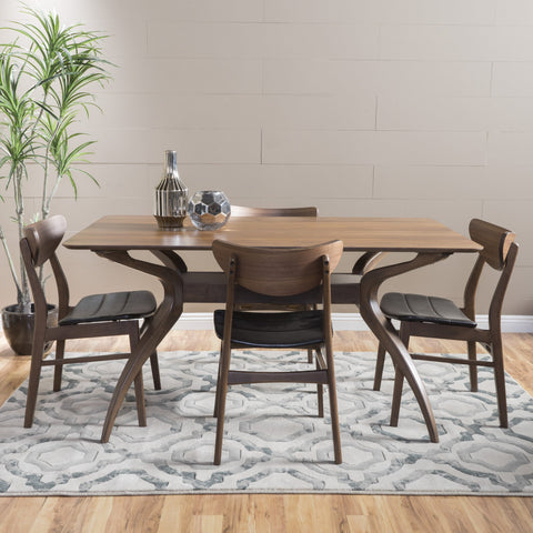 Adelade Dark Brown Leather Wood Finish Curved Leg Rectangular 5 Piece Dining Set