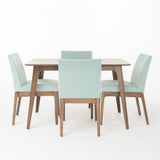 Kwame Natural Walnut Finish 50-inch Rectangular 5 Piece Dining Set