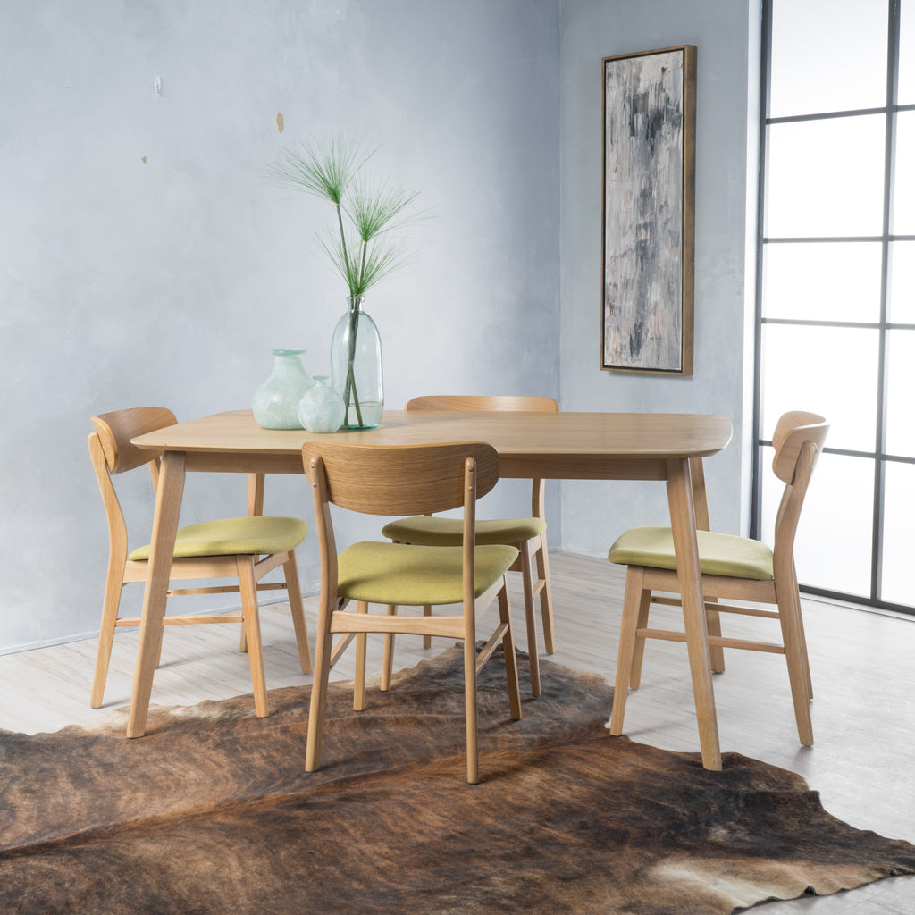 Lucille Mid Century Oak Finish 60-inch Rectangular 5 Pc Dining Set