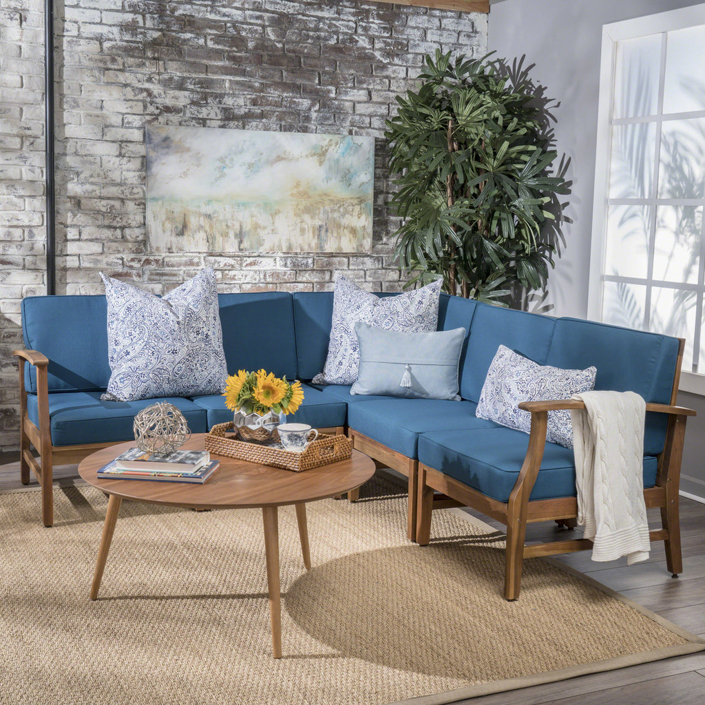 Uniese Indoor Farmhouse 5 Piece Sectional Sofa Chat Set