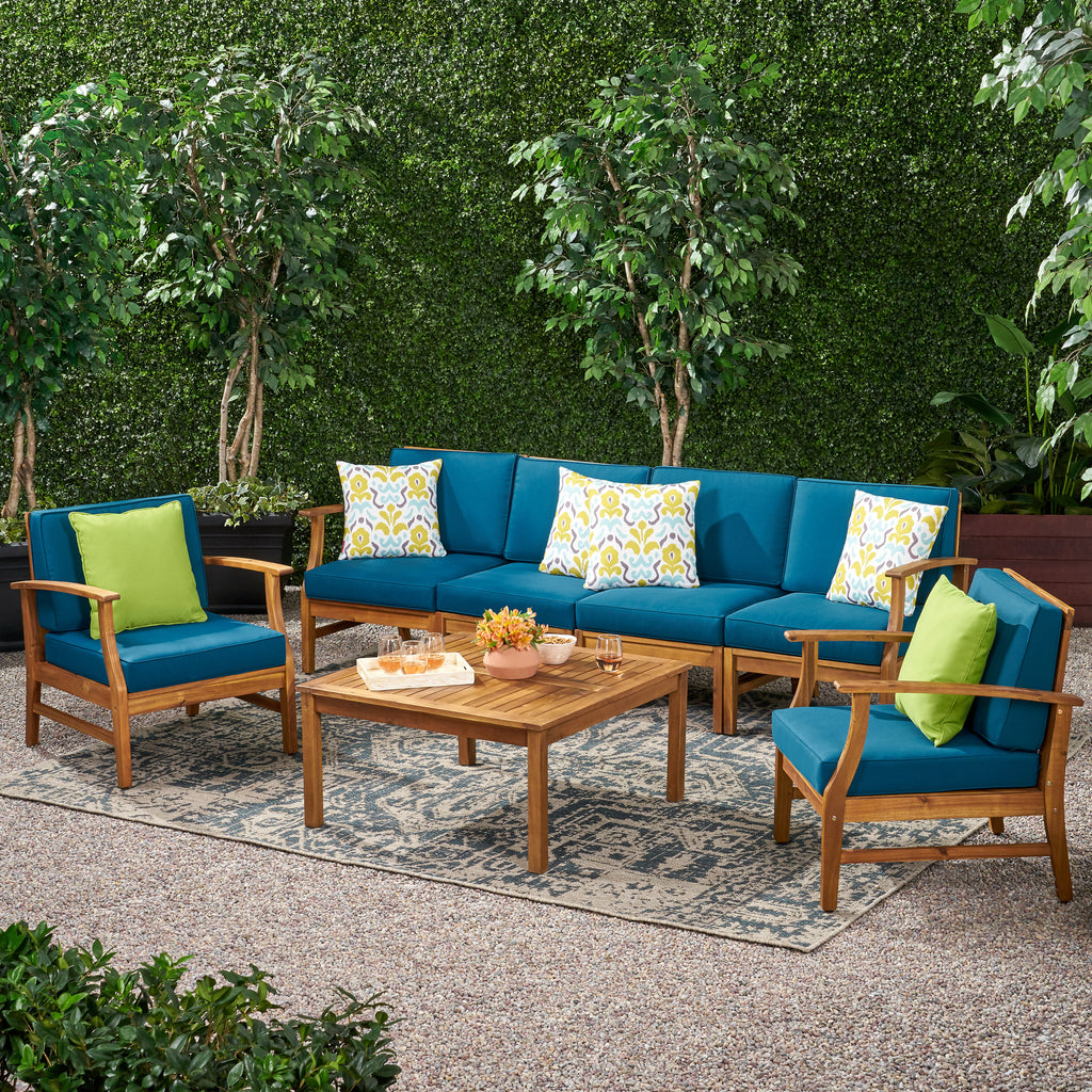 Scarlett Outdoor 6 Seat Teak Finished Acacia Wood Sofa and Table Set
