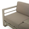 Crested Bay Outdoor Modern Convertible Aluminum Khaki Sofa with Tray Insert