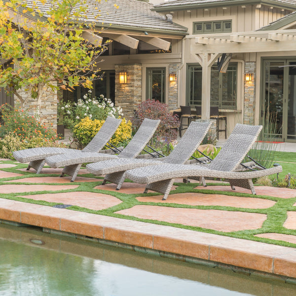 Isle Of Palms Outdoor Grey Wicker Chaise Lounge (Set of 4)