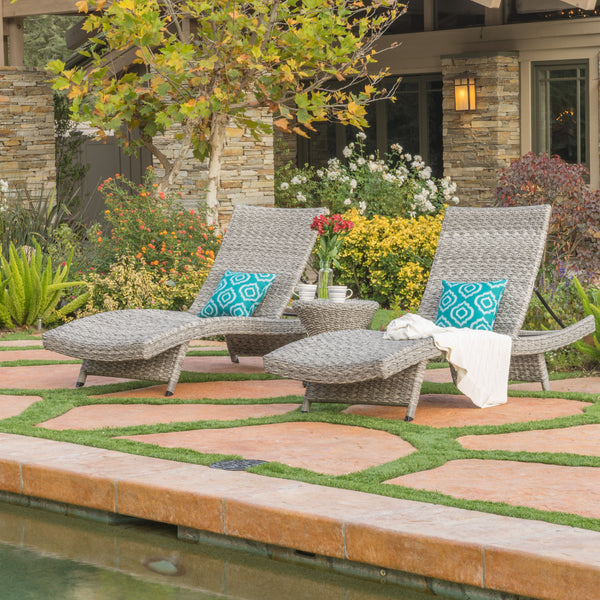 Crystal Outdoor Grey Wicker Chaise Lounge Set Of 2 With