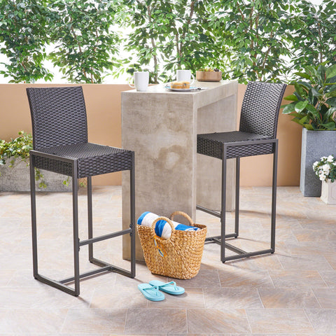 Kelly Outdoor Wicker 30 Inch Barstool