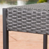 Conrad Outdoor Transitional 30-Inch Gray Wicker Barstools with Metal Frame