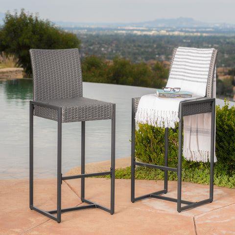 Conrad 30-Inch Outdoor Patio Gray Wicker Barstools