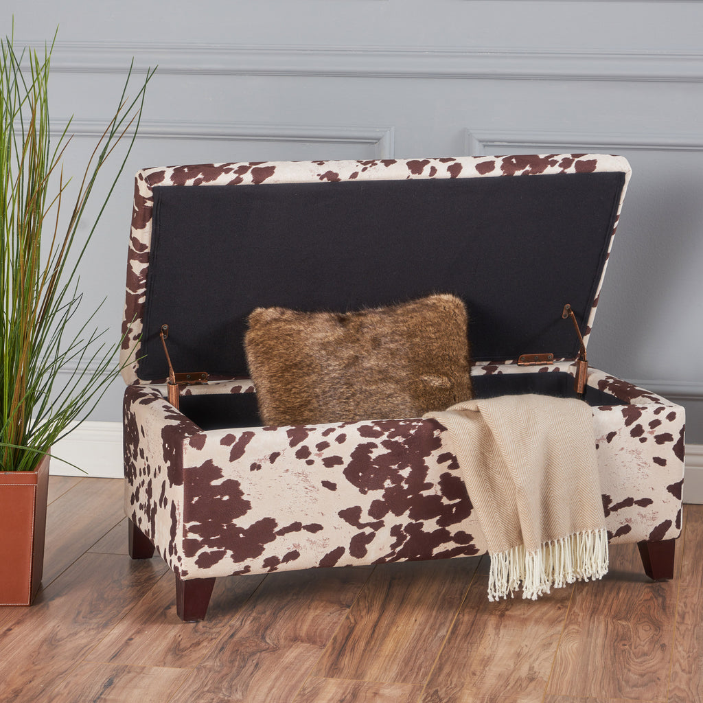 Sensational Brienne Velvet Cow Print Storage Ottoman Bench Caraccident5 Cool Chair Designs And Ideas Caraccident5Info