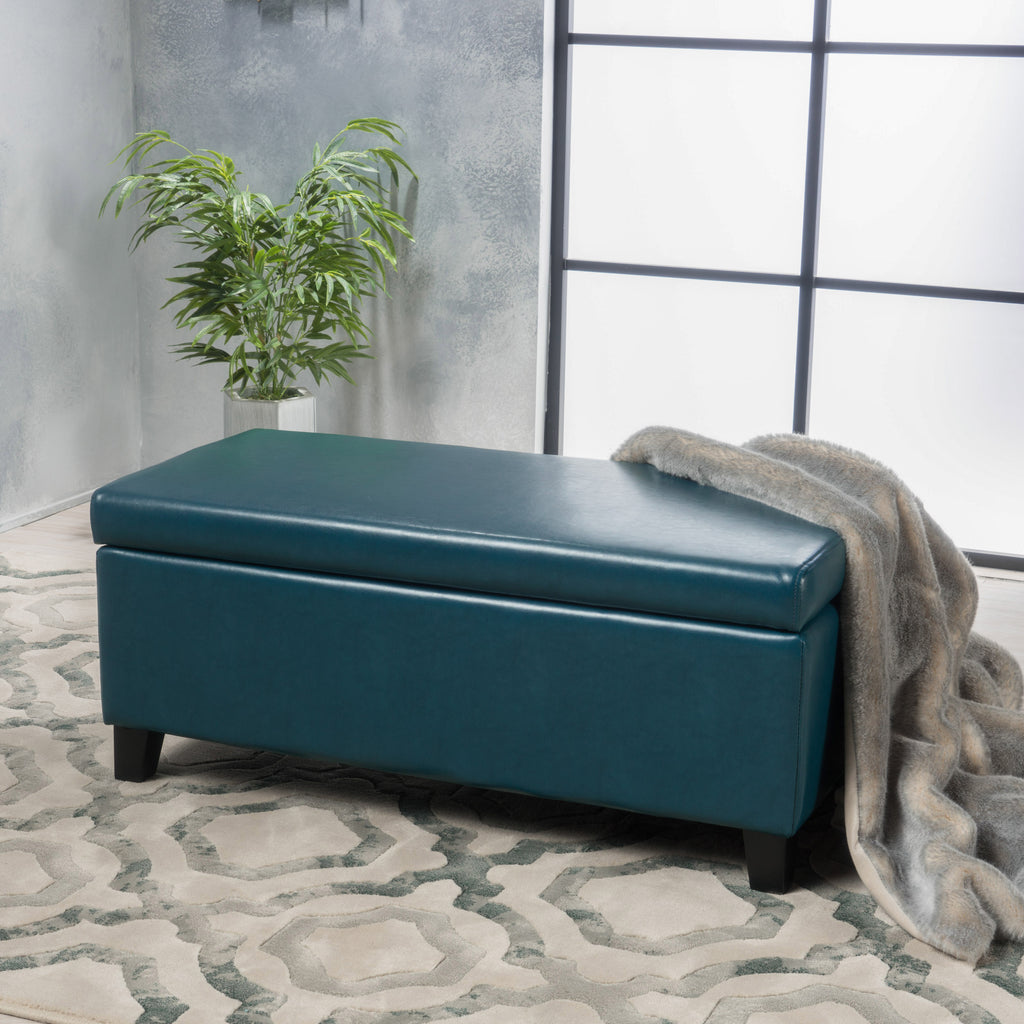 Brianna Rectangle Leather Storage Ottoman Bench