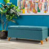 Etoney Mid-Century Modern Button Tufted Fabric Storage Ottoman Bench