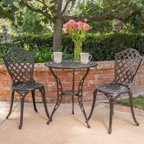 Lyon Black With Bronze Metal Outdoors Bistro Set