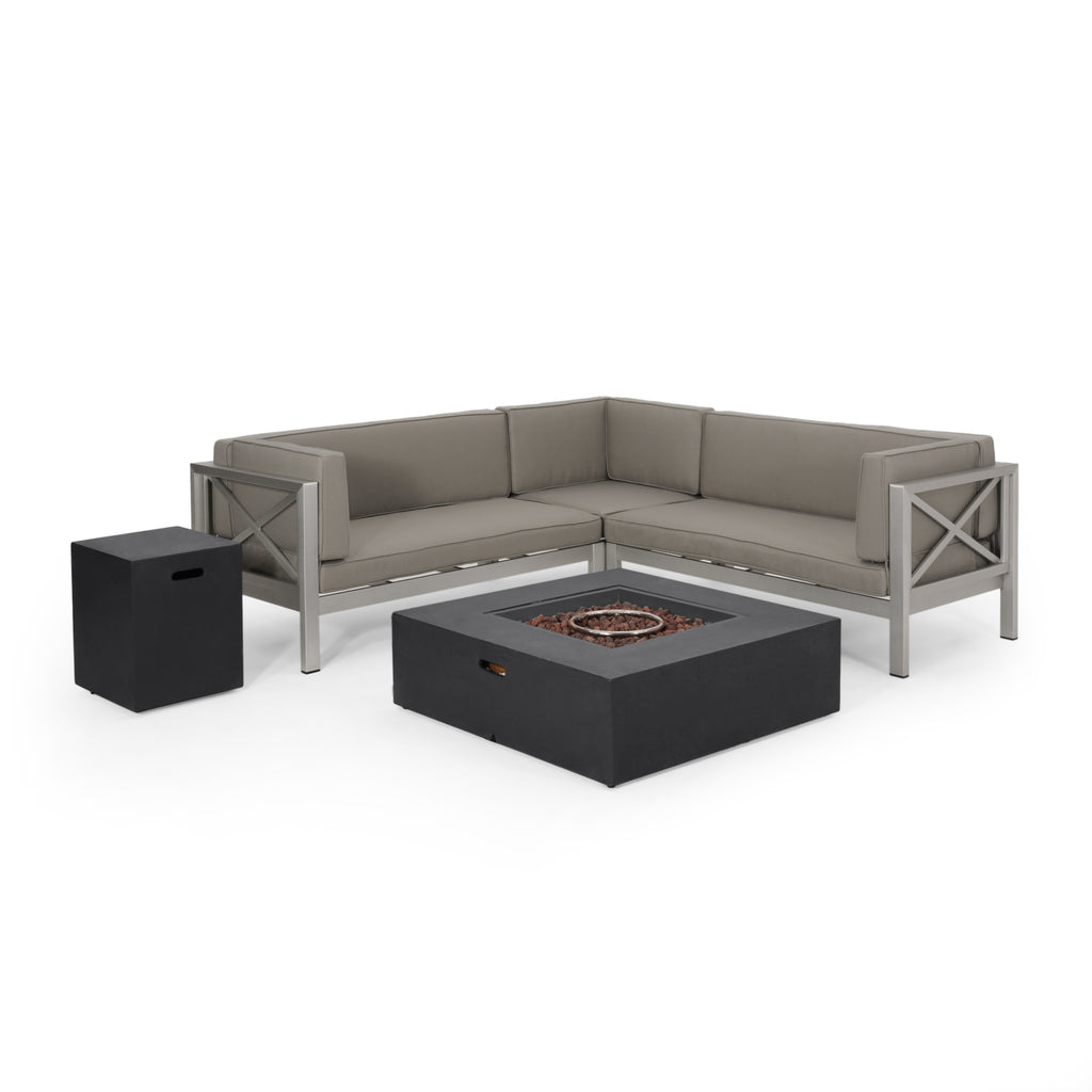 Morocco Vista Outdoor Modern 5 Seater V-Shaped Sectional Sofa Set with Fire Pit and Tank Holder