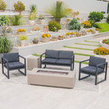 Nealie Outdoor 4-Seater Aluminum Chat Set with Fire Pit and Tank Holder