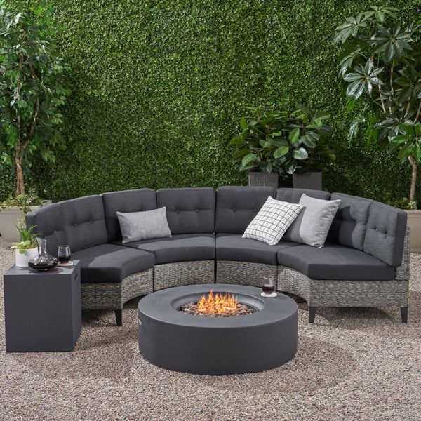 Nessett Outdoor 6 Piece Mixed Black Wicker Half Round Sofa Set with Dark Grey Fire Table