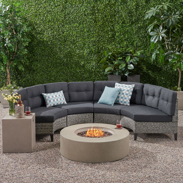 Nessett Outdoor 6 Piece Mixed Black Wicker Half Round Sofa Set with Light Grey Fire Table