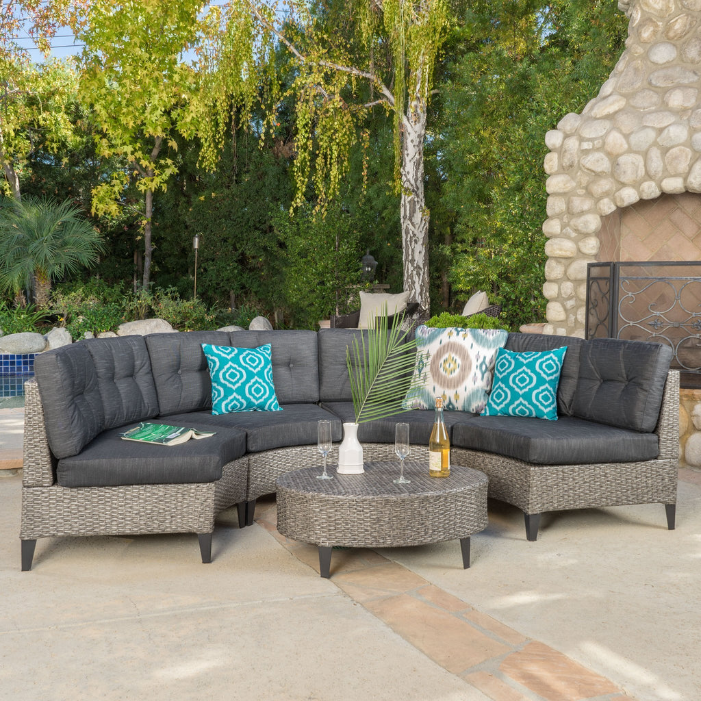 Currituck Outdoor 5 Piece Mixed Black Wicker Sofa Set with Dark Grey Water Resistant Fabric Cushions