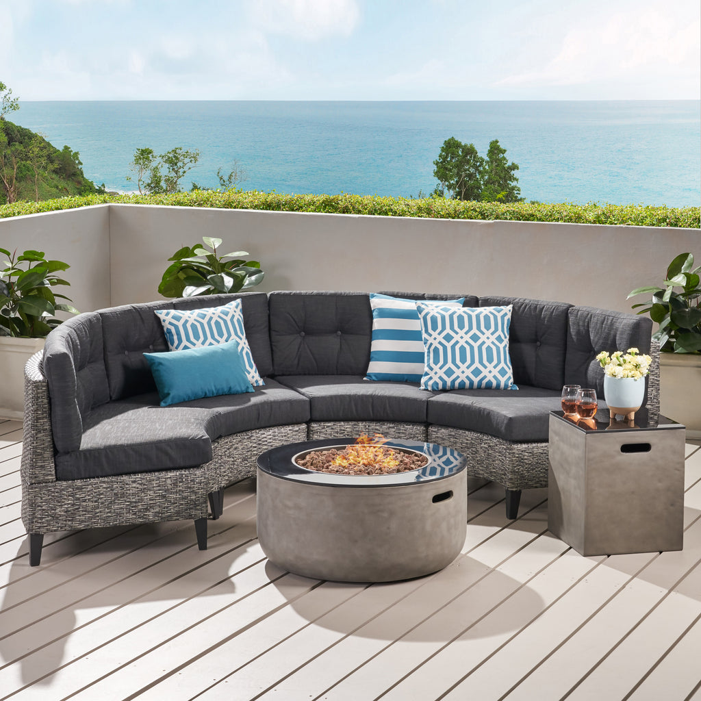 Breann Outdoor Round 4 Seater Wicker Sectional Set with Fire Pit and Tank Holder