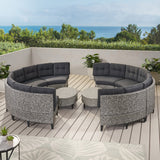 Currituck Outdoor 10 Piece Mixed Black Wicker Sofa Set with Dark Grey Water Resistant Fabric Cushions