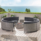 Breann Outdoor Round 8 Seater Wicker Sectional Set with Fire Pit and Tank Holder