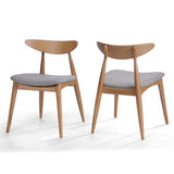 Issaic Mid-Century Modern Design Wood Dining Chairs (Set of 2)