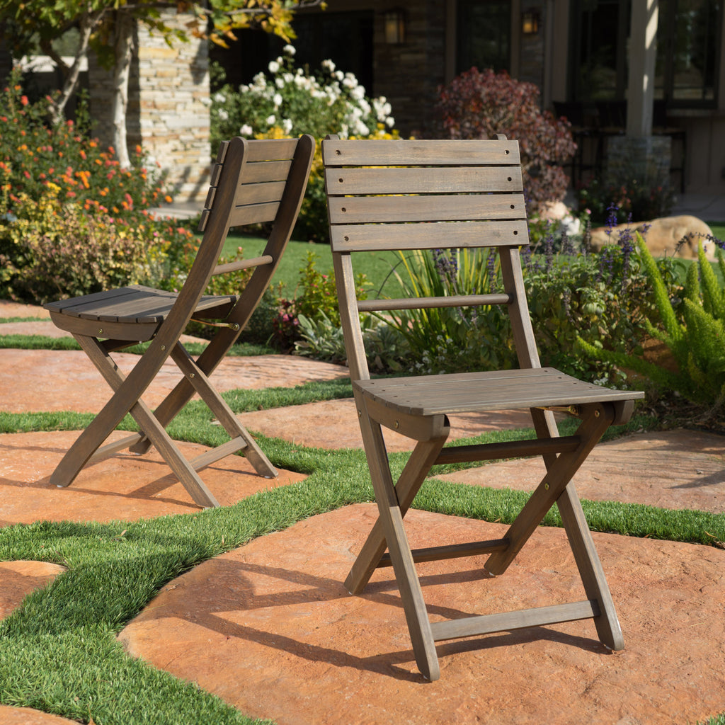Vicaro Outdoor Grey Finish Acacia Wood Foldable Dining Chairs (Set of 2)