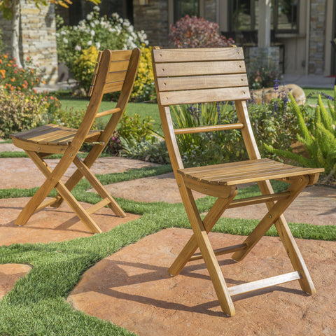 Vicaro Outdoor Natural Finish Acacia Wood Foldable Dining Chairs (Set of 2)