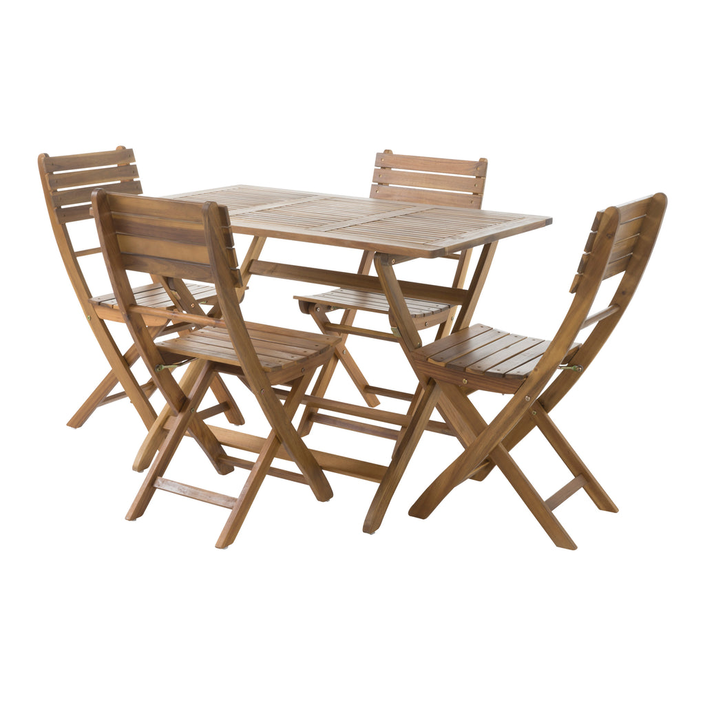 Vicaro Outdoor Natural Finish Acacia Wood Foldable Dining Set