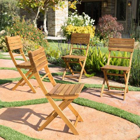 Vicaro Outdoor Natural Finish Acacia Wood Foldable Dining Chairs (Set of 4)