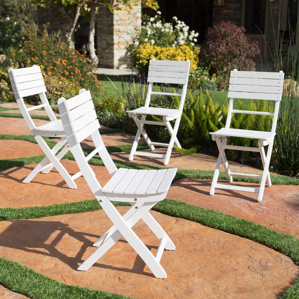 Vicaro Outdoor White Finish Acacia Wood Foldable Dining Chairs