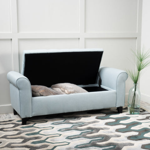 Charlemagne Light Sky Tufted Fabric Armed Storage Bench