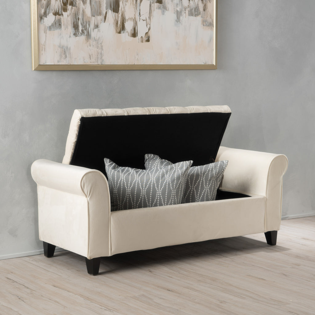 Arthur Light Grey Tufted Fabric Armed Storage Ottoman Bench