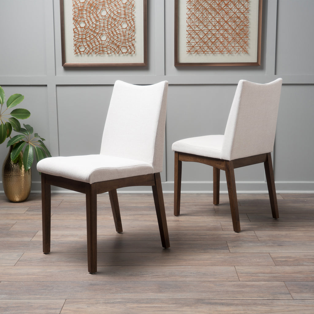 Gertrude Fabric & Wood Finish Mid-Century Modern Dining Chairs (Set of 2)