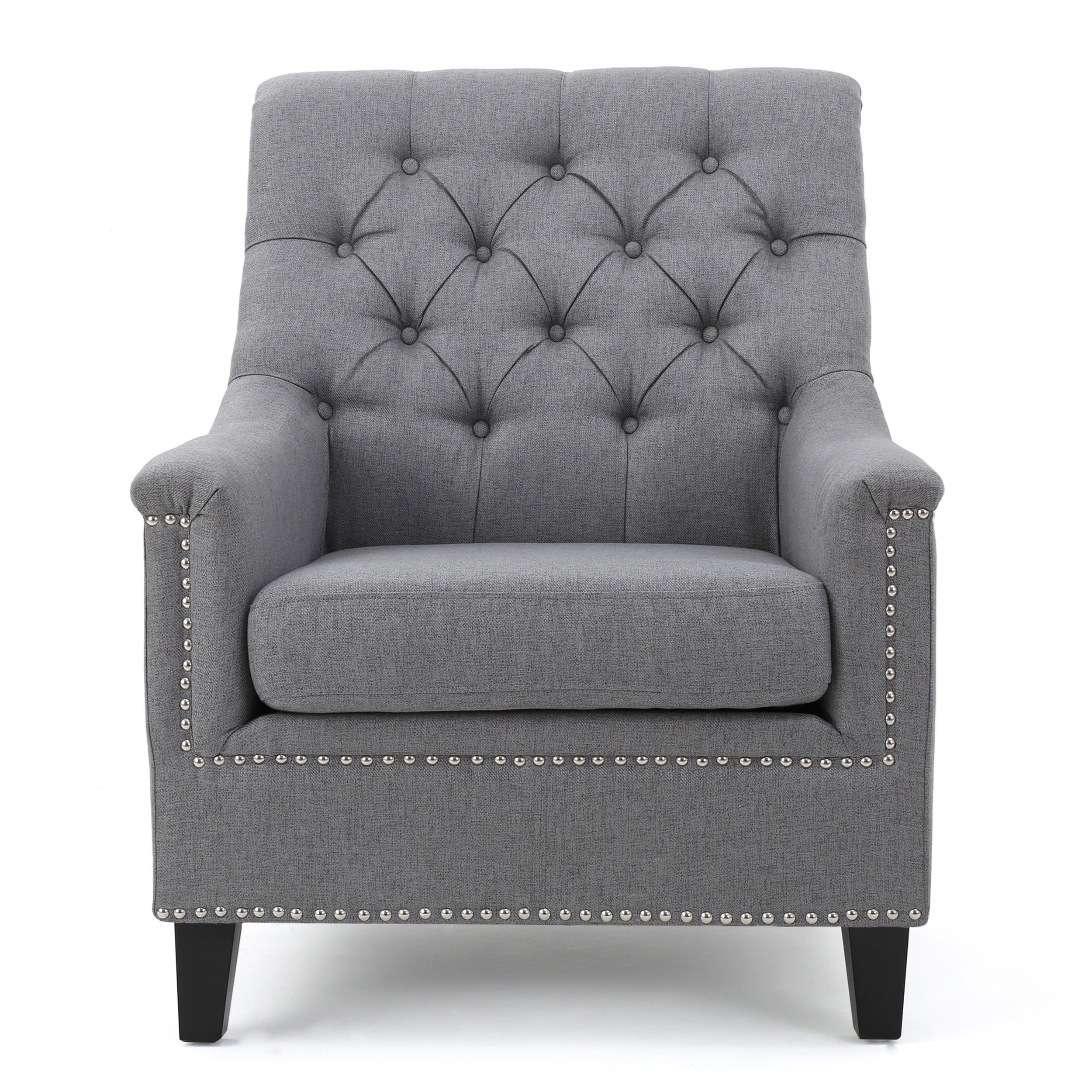 Ailsa Contemporary Button Tufted Fabric Club Chair with Nailhead Trim