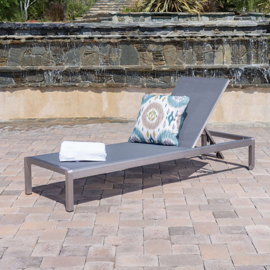 Coral bay dark gray outdoor mesh chaise lounge gdf studio for Blue mesh chaise lounge