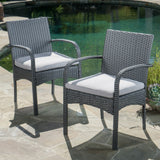 Portola Outdoor 5 Piece Grey Wicker Dining Set with Cushions