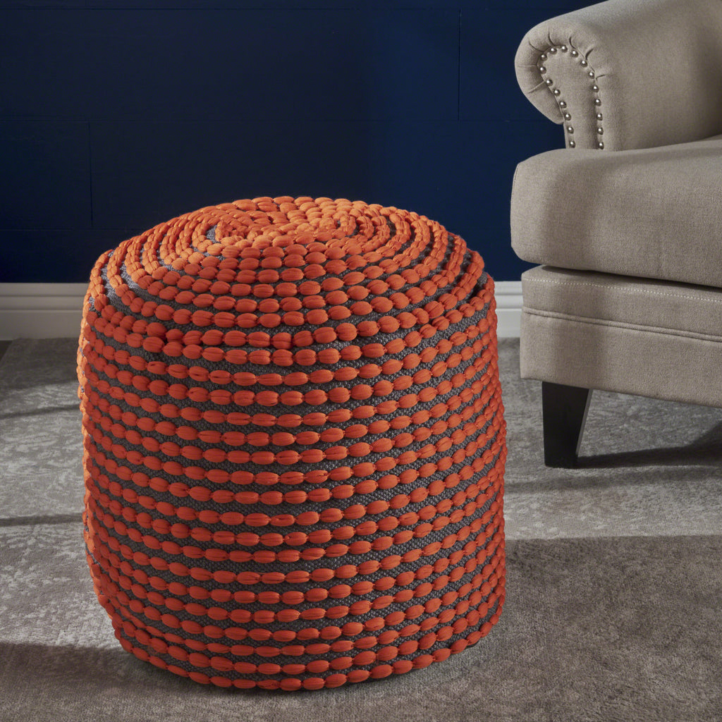 Rosalyn Handcrafted Modern Water-Resistant Fabric Ottoman Pouf