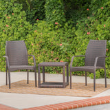 Dawson Outdoor 3 Piece Multi-brown Wicker Stacking Chair Chat Set