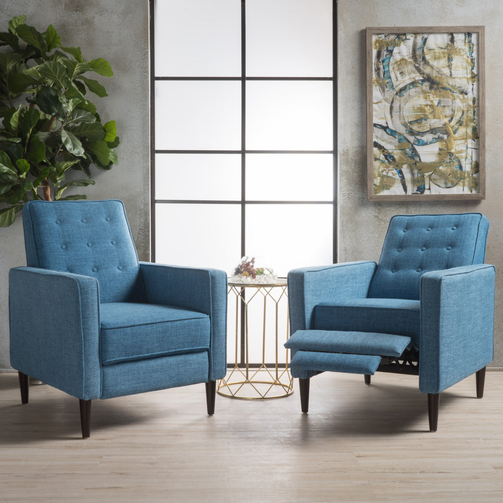 Marston Mid Century Modern Fabric Recliner (Set of 2)