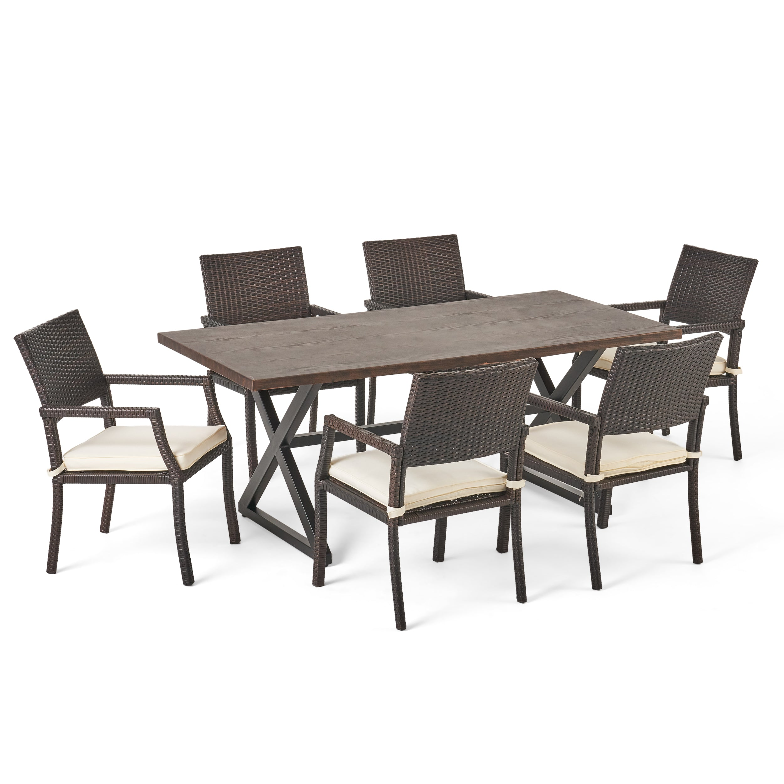 Alania Outdoor 7 Piece Aluminum Dining Set with Wicker Dining Chairs Default Title