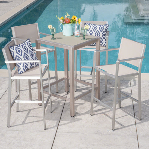 Tracy Outdoor 5 Piece Silver Rust-Proof Aluminum Bar Set with Grey Mesh Seats and Grey Tempered Glass Top Bar Table