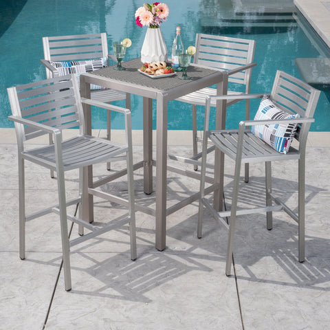 Tracy Outdoor 5 Piece Silver Rust-Proof Aluminum Bar Set with Grey Wicker Top Bar Table